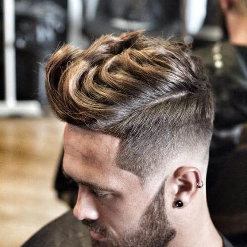 layered bald fade with beard