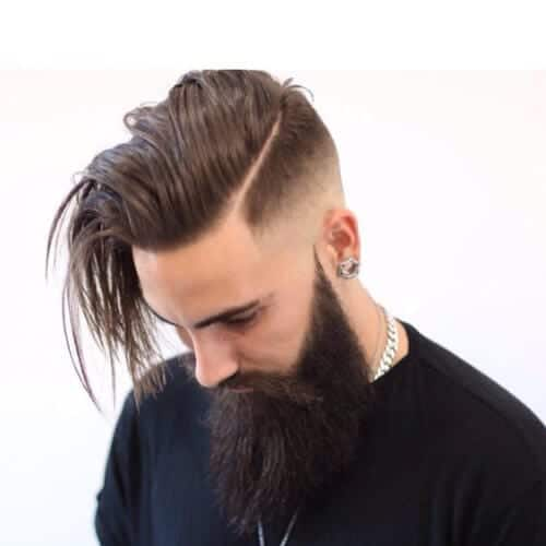 long bald fade with beard
