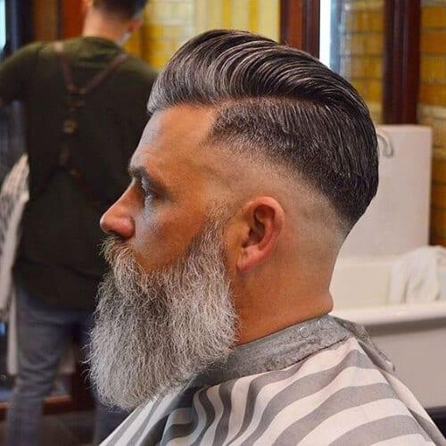 mature bald fade with beard