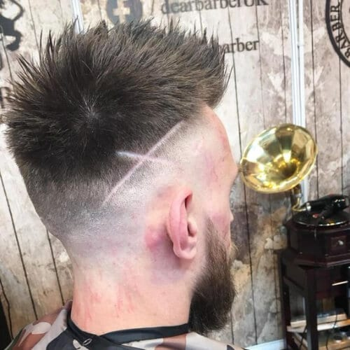 minimalist hair design bald fade with beard