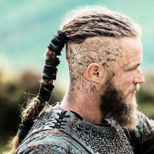 ragnar vikings bald fade with beard