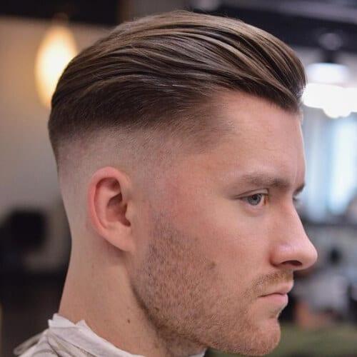 receding hairline bald fade with beard