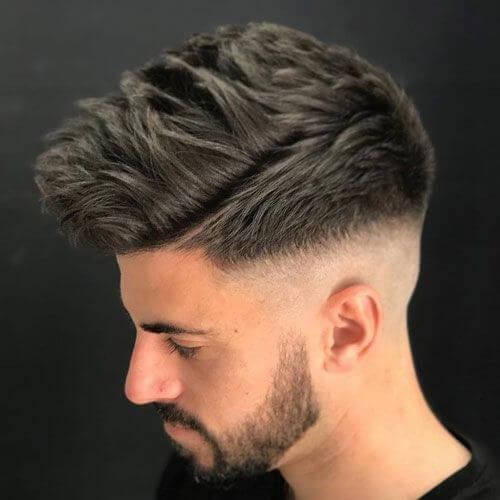 textures spikes bald fade with beard