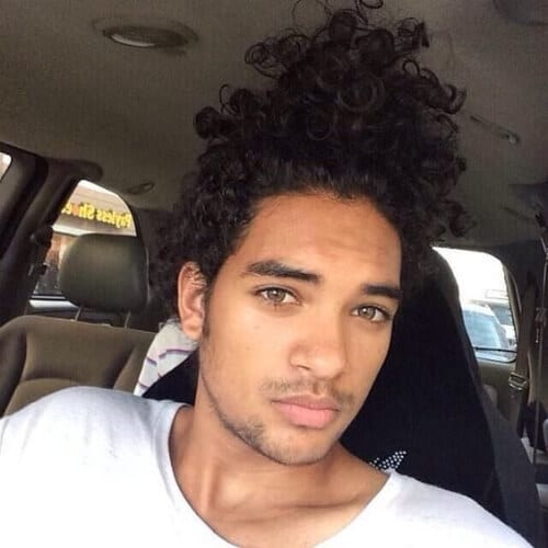 top knot curly hairstyles for black men