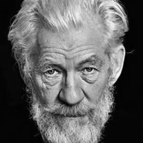 Ian McKellan hairstyles with beard