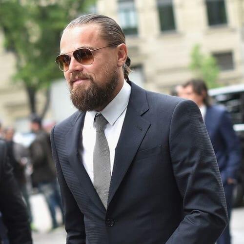man bun beard leonardo dicaprio hairstyles