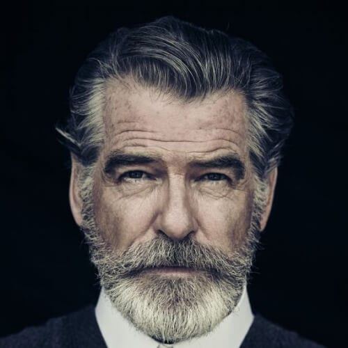 pierce brosnan hairstyles with beard