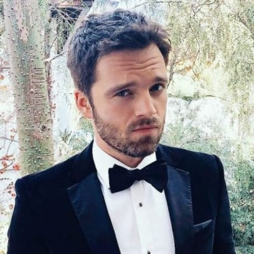 sebastian stan hugo boss hairstyles with beard