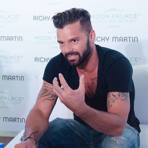 gelled slick comb over ricky martin haircut