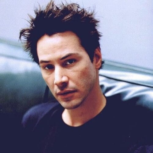messy spikes keanu reeves hair