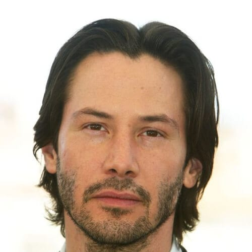 middle part keanu reeves hair
