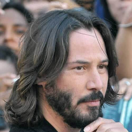 keanu reeves mens shoulder length hairstyles