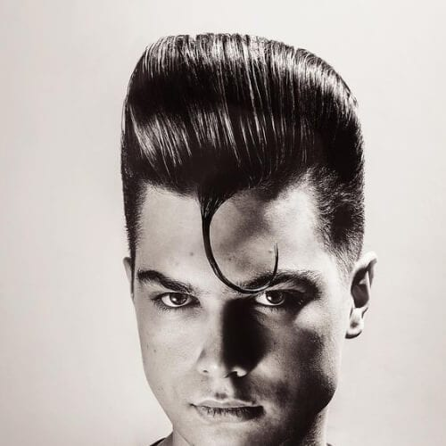 pompadour gelled swag old school haircuts