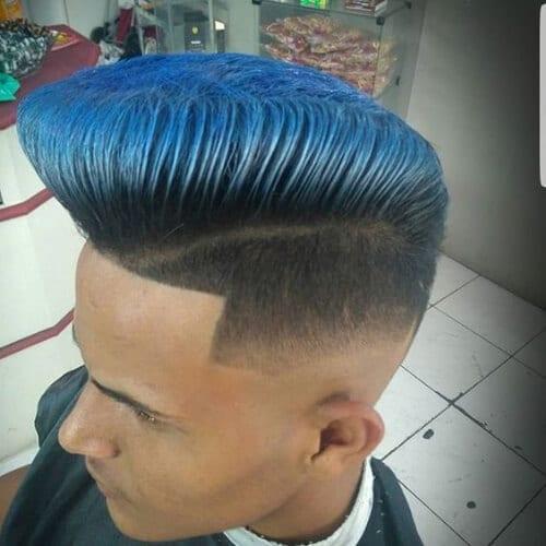 blue skin fade pompadour