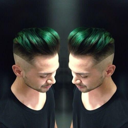 green skin fade pompadour