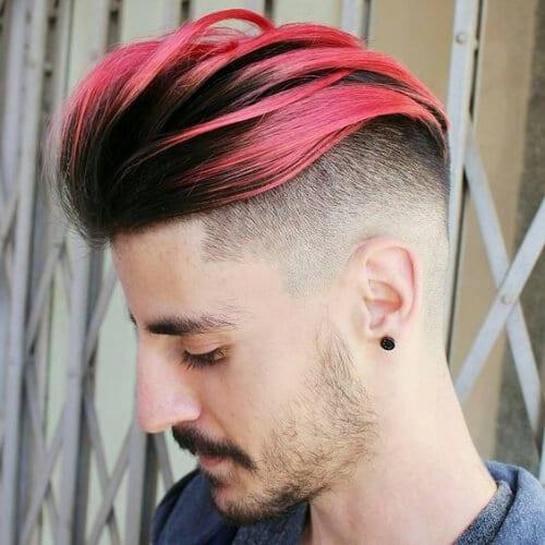 pink skin fade pompadour
