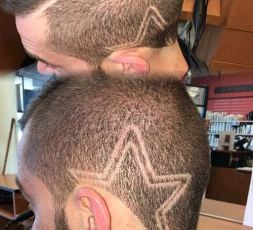 Double lined star designs haircuts