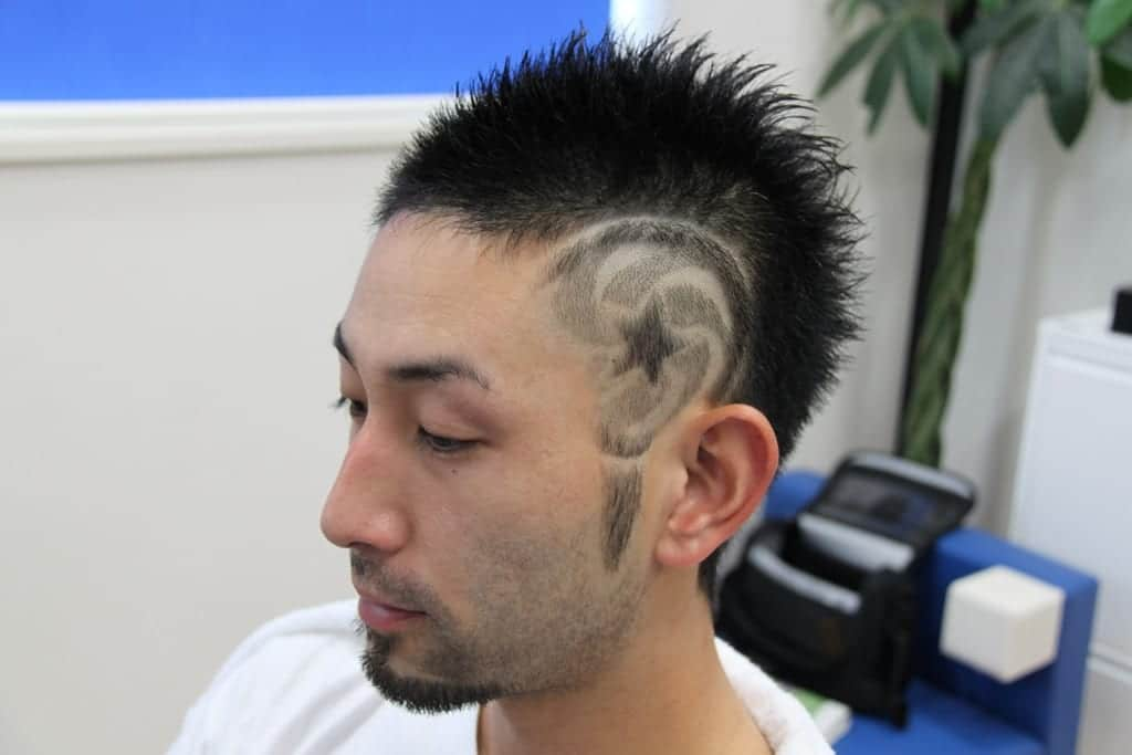 a style with shaved designs