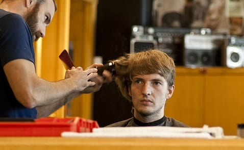 man having a haircut