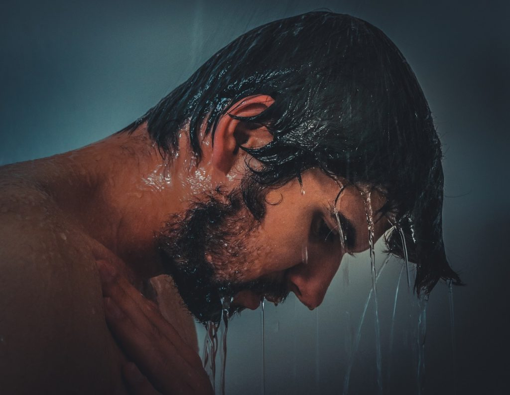 a man taking a shower