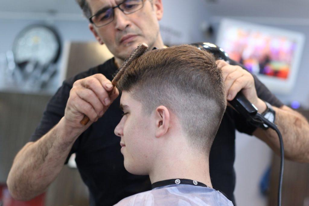 man gets a new haircut