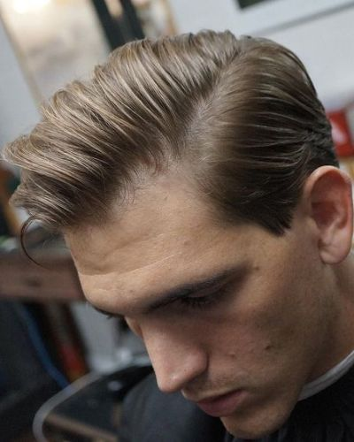 Side Swept Pomp with Part for Thin Hair