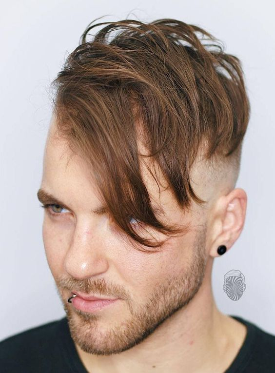 asymmetrical hairstyles for men with deep side fringe
