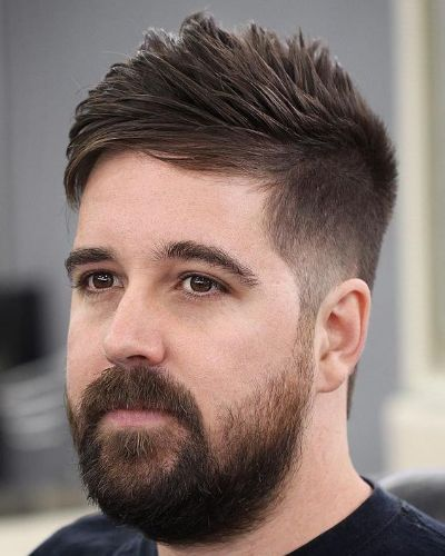 Side Swept Spikes with Bushy Beard