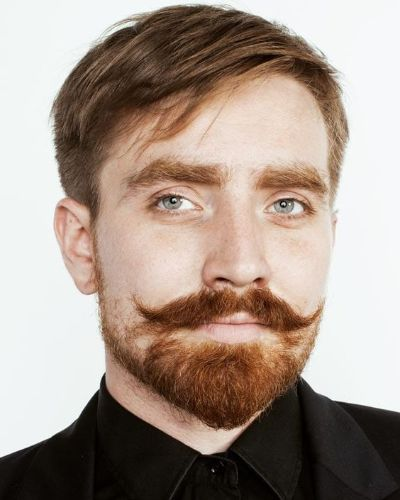Side Swept Hair with Short Sides and Dashing Mustache