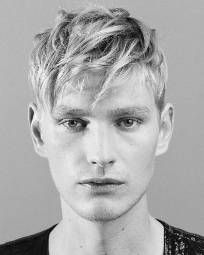 Forward Swept Hair with Blonde Fringe and Shaved Sides