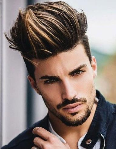 Extra Gelled Long Top with Highlights and Precision Cut Short Sides, with Van Dyke and Stubble
