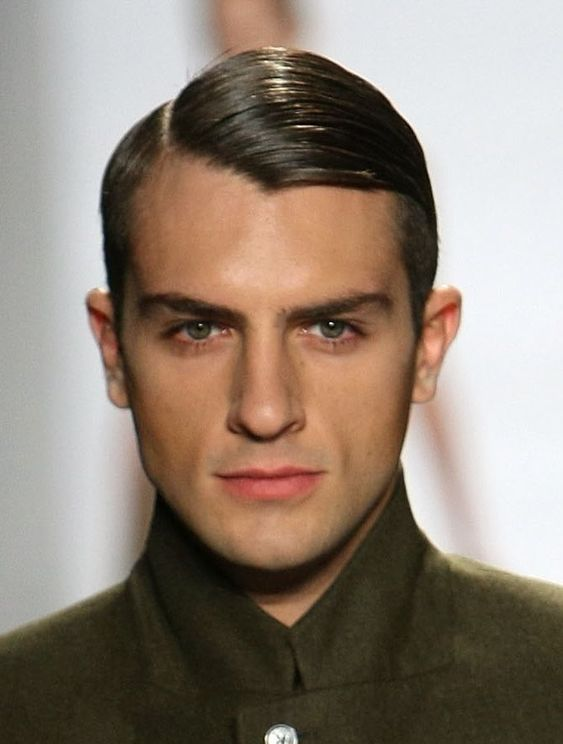 slick asymmetrical haircut with short sides