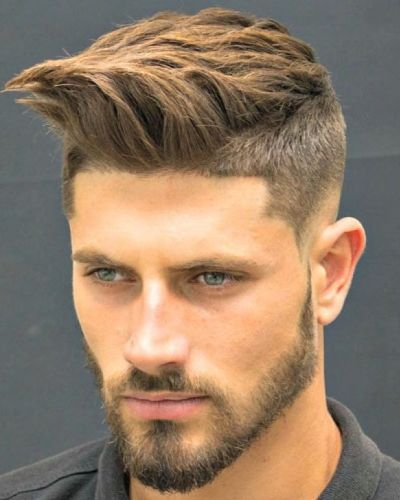 Forward Sweep Shaped Up with Short Sides and Bald Fade