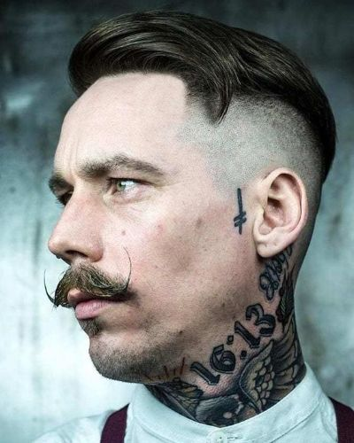 Side Swept Undercut with Mustache