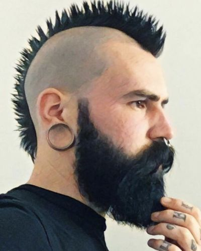 Short Thin Spiky Mohawk with Shaved Sides Beard
