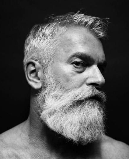 widow's peak grey hair styles for men with long beard