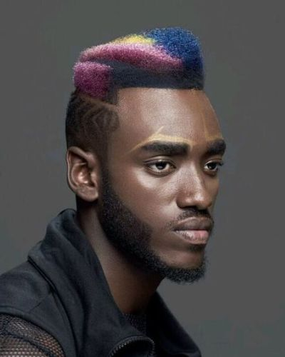 Colorful Asymmetrical High Top with Short Waves on the Sides