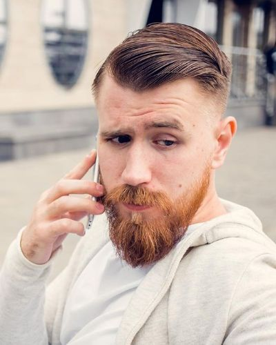 Short Side Swept Hair with Beard