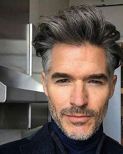 Grey Hair Quiff and Short Beard