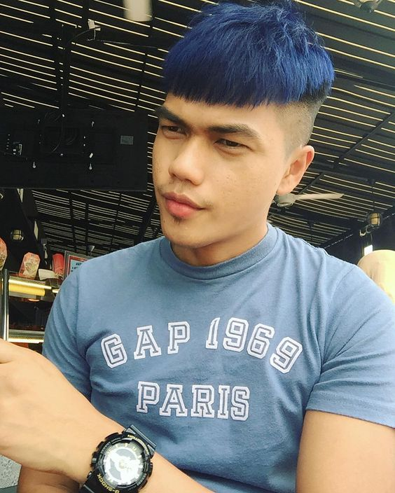 High Blue Mushroom cut with shaved sides