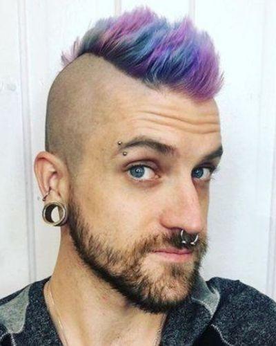 Pink Purple Blue Mohawk with Beard