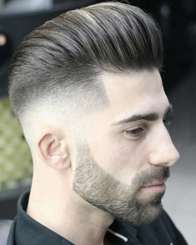 Pompadour with Taper and Bald Fade