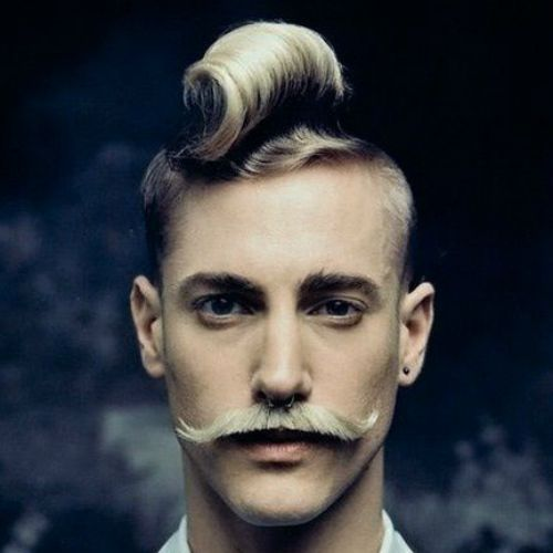 asymmetrical hairstyles for men with excentric moustaches