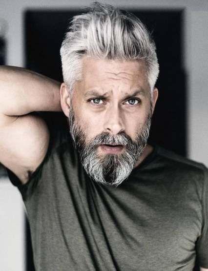 Duo-Tone Pompadour gray hair style