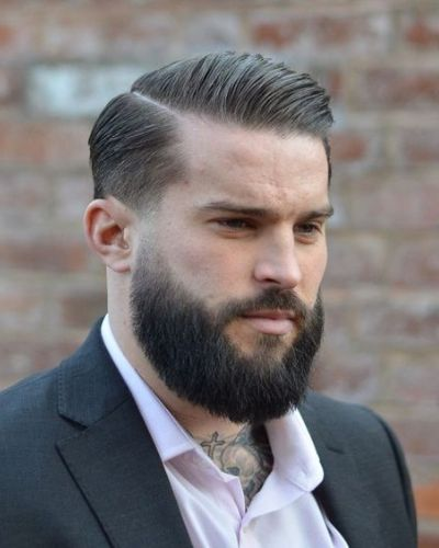 Asymmetrical Part with Side Swept Hair and Large Beard