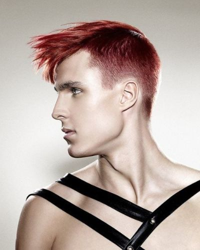 Red Undercut with Fringe