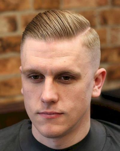 Short Pomp with Side Part and Hard Fade