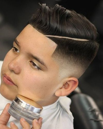 Gelled Combover with Hard Part Taper Fade