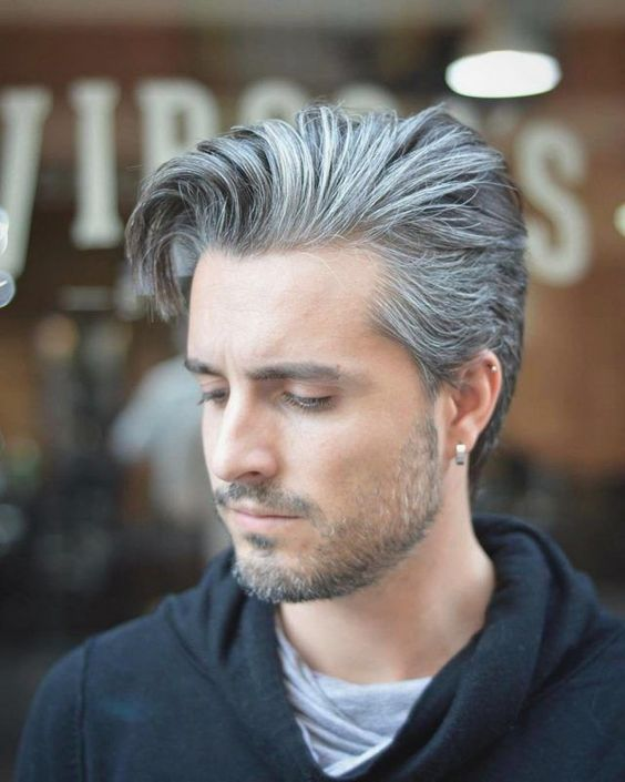 gray asymmetrical quiff haircut