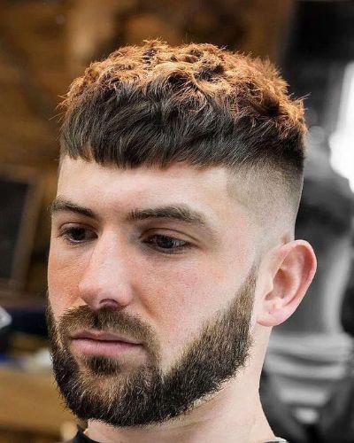 Caesar Cut Crop with Short Beard and Descending Cheek Line